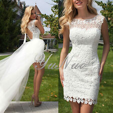 YuNuo Summer Style Two Piece Short Wedding Dress Sheath Lace Removable Skirt