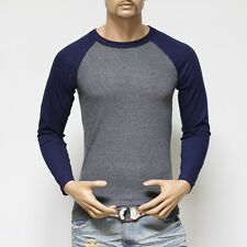 Men's Long Sleeve Baseball T-Shirt Raglan Jersey Casual Tee Fashion Crew Neck T