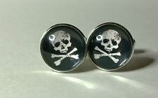 Skull and Crossbones , Jolly Roger Glass domed cufflinks