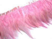 F219 PER FEET-Pink Rooster Hackle Hen feather fringe Trim Fascinator Material