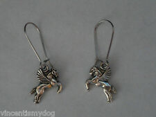BRAND NEW * SILVER TONE FLYING HORSE PONY EARRINGS IN PRETTY ORGANZA GIFT BAG