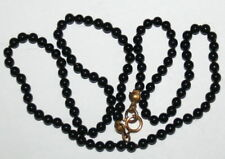 VINTAGE NATURAL 3.5mm Small BLACK ONYX Bead 9K Gold CLASP FINE KNOTTED NECKLACE