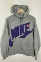 Mens Nike Grey And Purple Big Spellout Hoodie Size L Large
