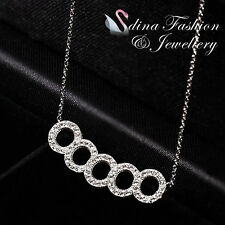 18K White Gold Plated Simulated Diamond Studded Exquisite Five Circles Necklace