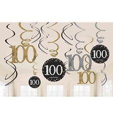 12 x centesimo compleanno appendere SWIRLS Nero e Argento Oro Festa Decorazioni 100 anni