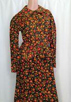 Vintage Sears Jr Bazaar Size 13 Long Skirt Set Black Orange Wildflowers 70-80s
