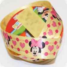 1 Metro De Disney Minnie Mouse Corazones Amarillo 25mm De Raso Artesanales Cinta