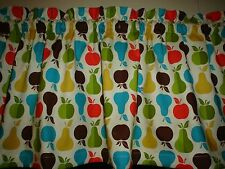Fruit Apple Pear Red Brown Turquoise Yellow Bedroom Kitchen Window Valance Decor