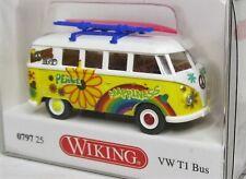 Wiking 1:87 VW T1 Bus mit Dachgepäckträger und Surfbrett OVP 0797 25 weiss gelb