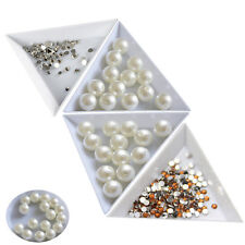 Plastic White Triangle Round Sorting Trays Rhinestones Beads Crystal Nail Art