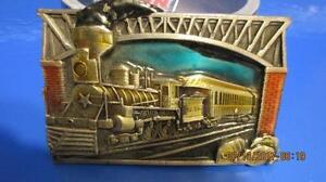 VIINTAGE 1983 BERGAMONT U.S MAIL TRAIN >> Enamel Train Belt Buckle