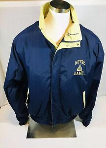 Notre Dame Fighting Irish Champion Zip Up Button Snap Spring Jacket Large - EUC