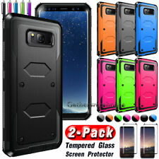 Hard Back Case Cover For Various Cell Phones + Tempered Glass Screen Protector