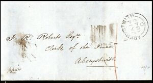 1849 Wrapper to Clerk of the Peace Aberystwith Dolgelly Rear Postal History