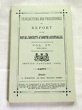 Transactions Proceedings Royal Society of South Australia 1880-81 Geology Nature