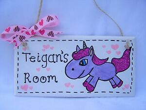 Handmade personalised Unicorn bedroom name plaque sign gift childs girls present