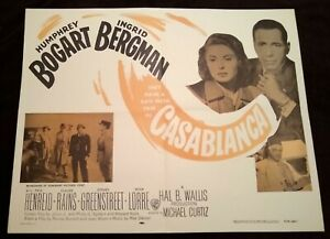 Casablanca 1956R Vintage Half-Sheet Poster Humphrey Bogart Ingrid Bergman 0104