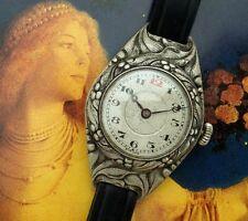 Antique Vintage Ladies' 1912 Florid Art Nouveau Era Wristlet Watch - SERVICED