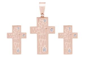 14K Rose Gold Style Cross Pendant & Earrings Set
