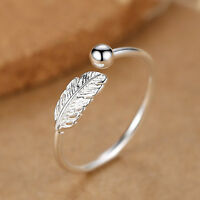 925 Silver Adjustable Mens Womens Feather Angel Finger Bead Ball Ring UK N