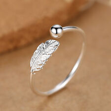 925 Silver Adjustable Mens Womens Feather Angel Finger Bead Ball Ring UK M