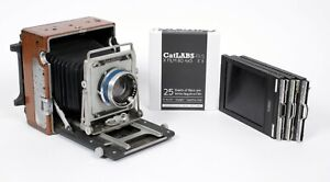 Refinished Graflex crown graphic 4X5 Camera with 210mm lens + holders + FILM