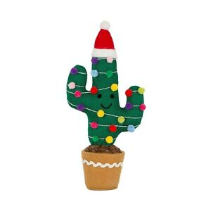 Small Knitted Festive Cactus In Pot Felt Christmas Decoration Quirky Ornament