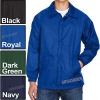 Mens Wind Breaker Staff Jacket Nylon Snap Front Coat S, M, L, XL, 2XL, 3XL, 4XL