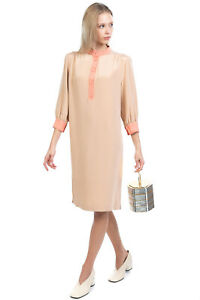 RRP€1790 KITON NAPOLI Silk Crepe Shirt Dress Size IT 42 S Gathered Made in Italy