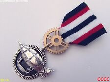 Steampunk badge brooch pindrape Medal flying airship zeppelin dirigible red blue
