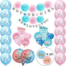 Baby Gender Reveal Party Supplies Decorations- Boy & Girl Balloons Banners Poms