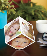"Spinning Rotating Flipo Photo Cube Frame Plastic and metal 4''x4"" with FREE GIFT"