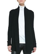 BEAUTIFUL Vince Ribbed Open Front Knit Stripe Shawl Black Cardigan Sweater!!!