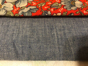 Lot Of 2 Remnant Fabrics. White & blue floral on bright red & blue denim. Quilt