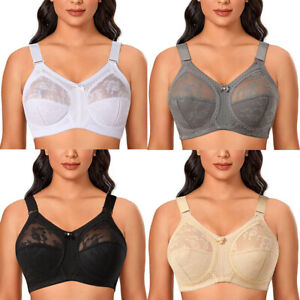 Ladies Plus Size Bra Lace Full Coverage Firm Hold Non Padded Non Wired Minimiser