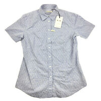 RM Williams Womens Nicole Short Sleeve Button Up Shirt Blue White Size 10 NEW