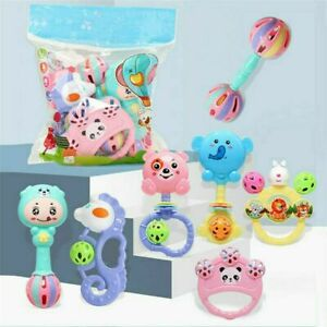 Cute Shake Hand Bell Rattle Music Sensory Rattle Toys Set Baby Kids Teether