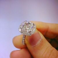 Delicated 2.22cttw Cushion VSS1 Diamond Halo Engagement Ring 14k White Gold Over