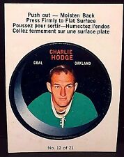 CHARLIE HODGE 1968-69 O-Pee-Chee PUCK Stickers #12 RARE Vintage OAKLAND SEALS L1
