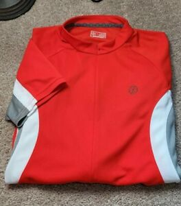 New! BONTRAGER-Red Pique Perform.Poly, Mens SS, 3/4.Zip Cycling Race Jersey-(L)