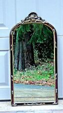 Antique Crested Arch-Top Mirror With Wood Carved Gesso,Gilt And Polychrome Frame