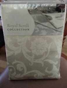 Tablecloth  LINTEX  Royal Scroll 52% Cotton, Ivory 152 x 213cm Machine Washable.