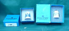 2 VINTAGE COALPORT THIMBLES IN BOXES WILLOW PATTERN & MOTHER 1979