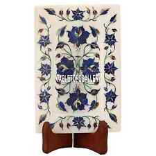 6''x2'' White Marble Tray Plate Inlay Lapis Rare Gifts for Home Decoration H3646