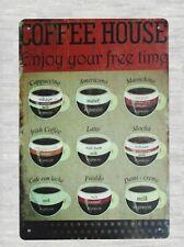 coffee house cafe pub bar tin metal sign wall home tavern  bedroom