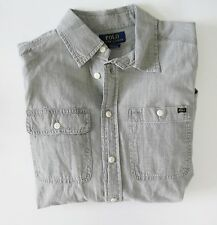 Ralph Lauren Boys Long Sleeve Chambray Shirt Lt Gray Sz L (14-16) - NWT