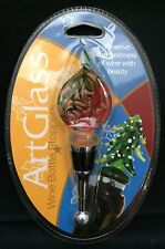Art Glass Wine Bottle Stopper Cork Red Green Twist Gold Aventurine