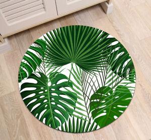 Tropical Green Fan Leaves Monstera Round Carpet Living Room Area Rug Floor Mat
