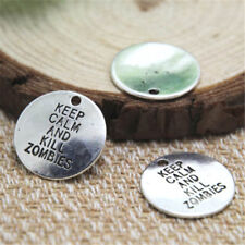 20pcs keep calm and kill zombies Charms Silver tone the walking dead penant 20mm