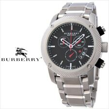 NEW BURBERRY HERITAGE SILVER STEEL SPORT CHRONOGRAPH BLACK DIAL WATCH BU7702